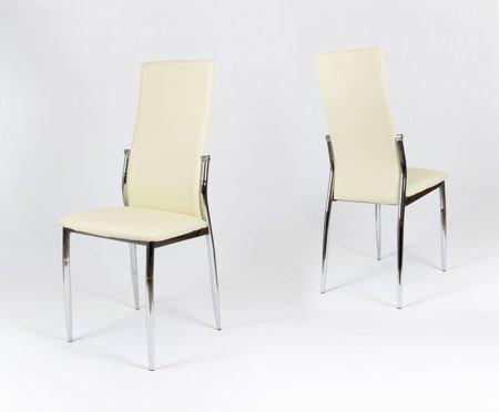 sk design ks004 creme kunsleder stuhl mit chromgestell. Black Bedroom Furniture Sets. Home Design Ideas